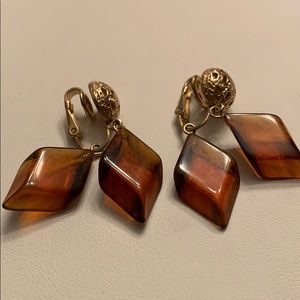 Amber & Gold Vintage Earrings
